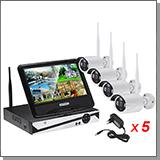 Беспроводной комплект видеонаблюдения на 4 камеры 5MP с монитором Kvadro Vision Optimus Street - 5.0R (Lux)