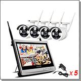 Беспроводной комплект видеонаблюдения на 4 камеры 5MP с монитором Kvadro Vision Planshet - 5.0R (Lux)