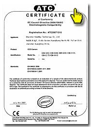 международные сертификаты на видеокамеры марки KADYMAY